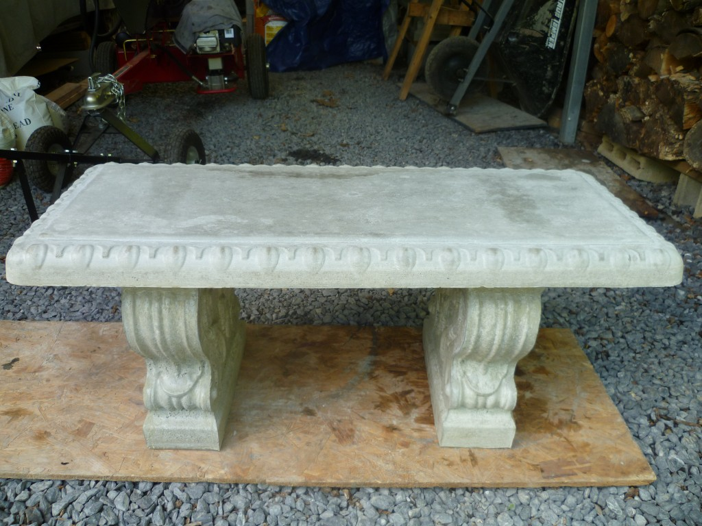 concrete scroll bench